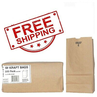 Duro Member's Mark Bag 4# Kraft Bags (500ct.) Paper Grocery Bags Sack Free Ship