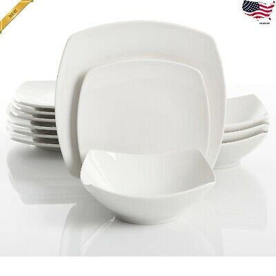 12 piece square dinnerware set dinner dessert