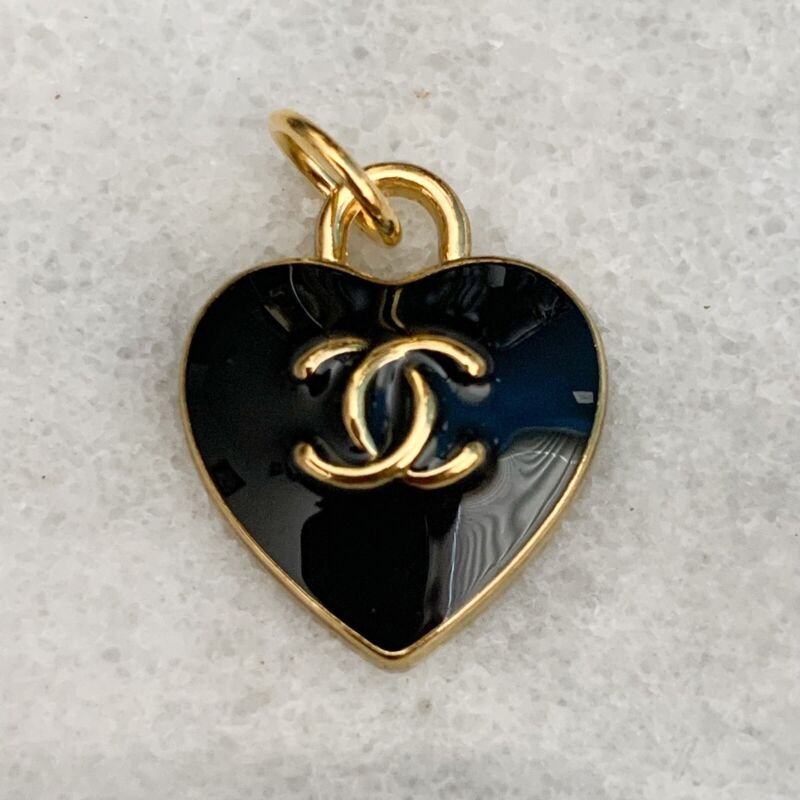 Chanel Black Heart Zipper Pull Charm Stamped Auth 15 mm