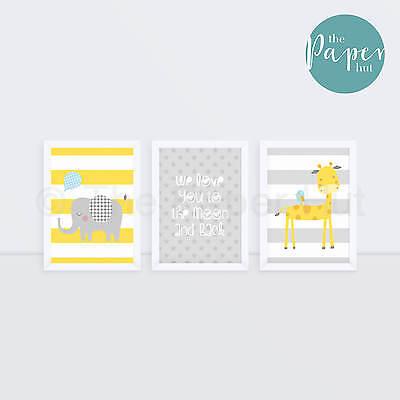 "Unisex Nursery Art Print Yellow & Grey  5""x7"" Three Pack | Jungle Safari"