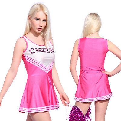 Karneval Mädchen Mini Kleid Cheerleading Kleid Kostüm Rosa - Rosa Cheerleader Kostüme