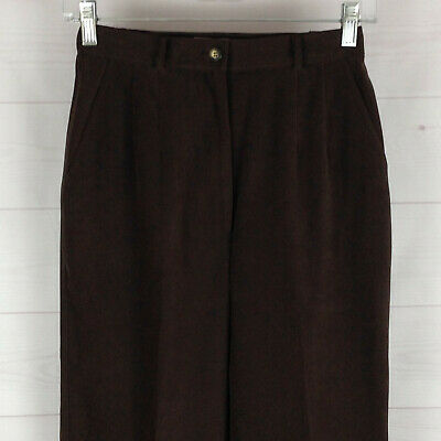TALBOTS womens 2 x 24 stretch brown high rise side elastic tapered velvet pants