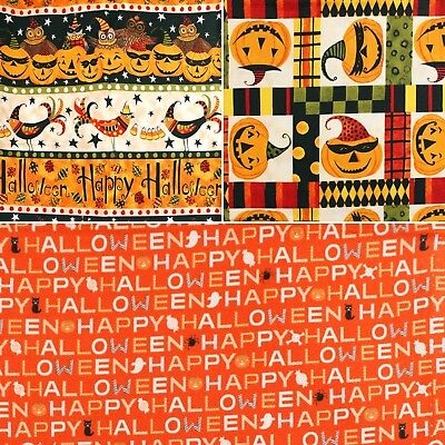 n Words Pumpkins Quilting Craft Cotton Fabric FQ & Meter (Blake Halloween)