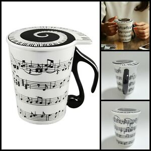 Ceramic Staves Music Notes Spiral Keyboard Musician Coffee Mug Tea Cup With Lid