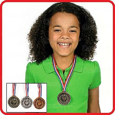 TOY-GOLD SILVER BRONZE WINNERS MEDALS+NECK CORDS/STRAPS-ACHIEVEMENT PRIZE AWARD ()