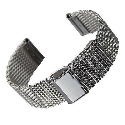 20 22 24 26Mm Silver Stainless Steel Bracelet Strap Watch Mesh Replacement Band