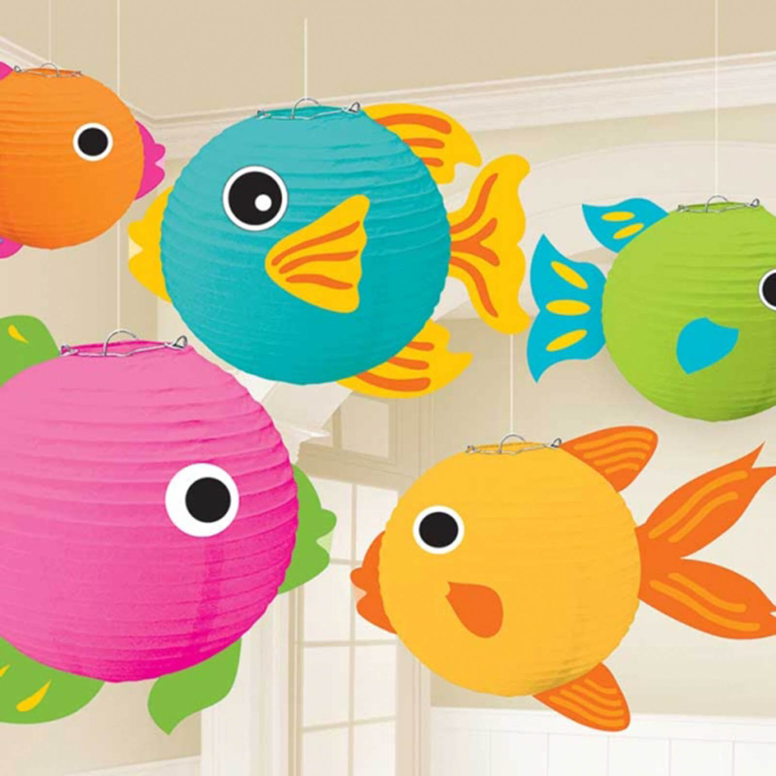 5 tropical party hanging ocean sea fish paper ball globe for Fish paper lanterns