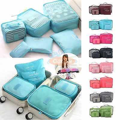 6PC/Set Luggage Clothing Travel Storage Bags Pack Cube Organizer Waterproof US