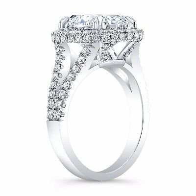 2.30 Ct. Cushion Cut Pave Diamond Halo Split Shank Engagement Ring H VS2 14K GIA 2