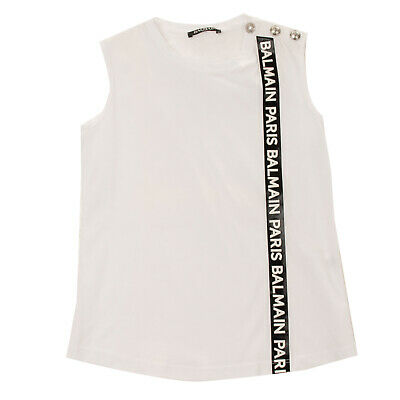 RRP €290 BALMAIN Vest Top Size 10Y Glued Logo Branded Poppers Made in Italy