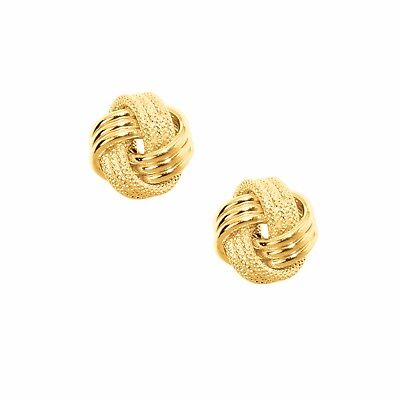 Triple Knot - Italian Textured Triple Row Knot Rosetta Rose Stud Earrings Real 10K Yellow Gold