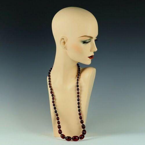 "Vintage Dark CHERRY AMBER BAKELITE Graduated Beaded 32"" Necklace 75 Grams"
