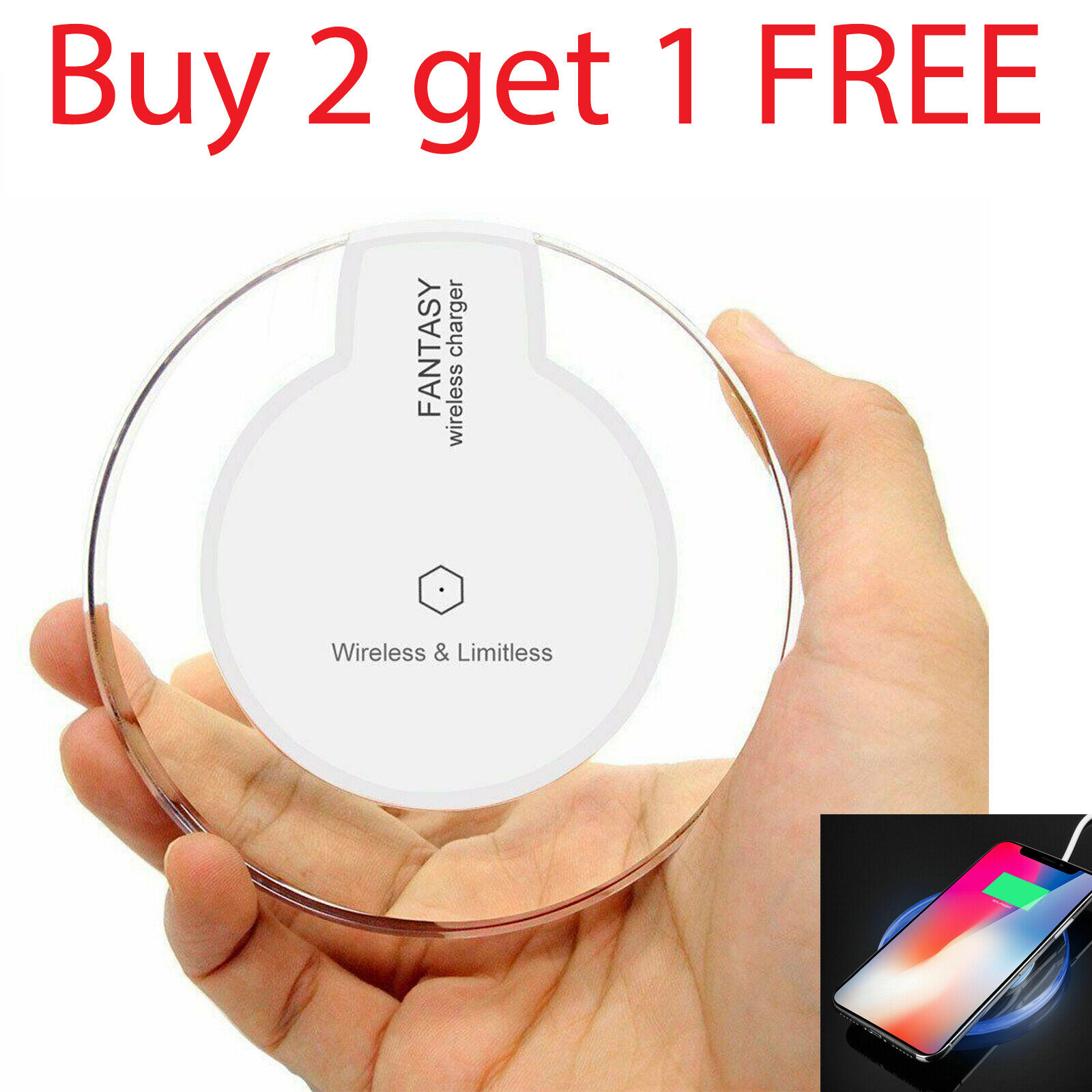 Wireless Phone Charger Pad for iPhone 11 XS XR 8 Galaxy Note 9 S10 Qi Charger Cell Phone Accessories