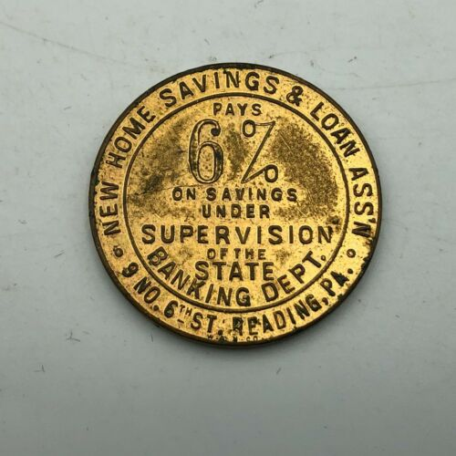 Vintage New Home Savings + Loan Reading PA Advertising Good Luck Coin Token  T1