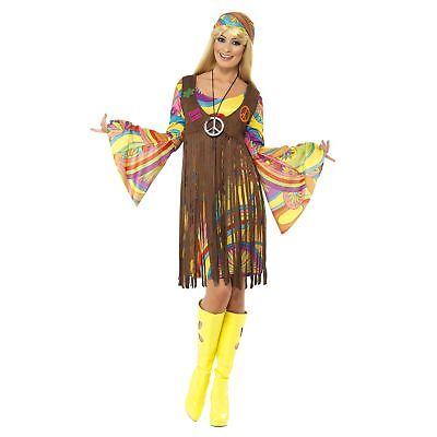 Hippie Flower Power Costumes (60's 70's Groovy Lady Flower Power Hippie Womens Ladies Fancy Dress)