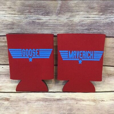 Top Gun Custome (Top Gun Goose and Maverick Handmade Custom Koozie Can Cooler Coozie Set Of)