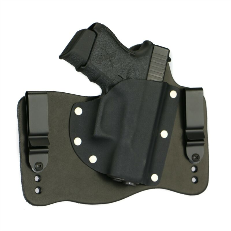 FoxX Leather & Kydex IWB Glock 26, 27 & 33 Hybrid Holster Black Right Tuckable
