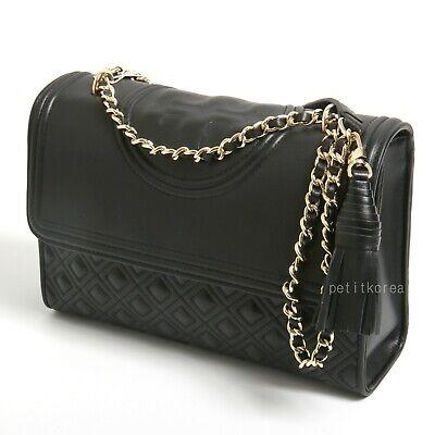Tory Burch Fleming Convertible Shoulder Bag Medium Chain Leather Handbag Black