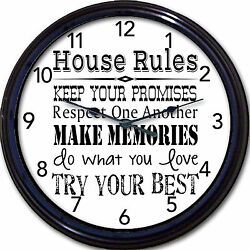House Rules Wall Clock Family Rules Try Your Best Keep Promises Home New 10