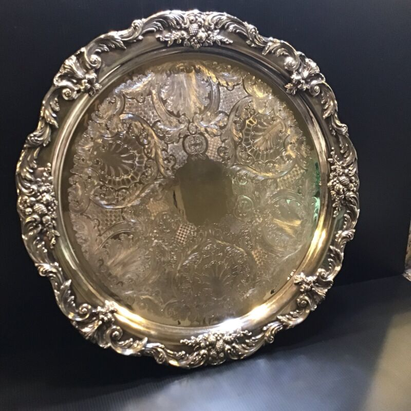 King Francis Pattern Large Serving Tray By Reed & Barton Silverplate  19""
