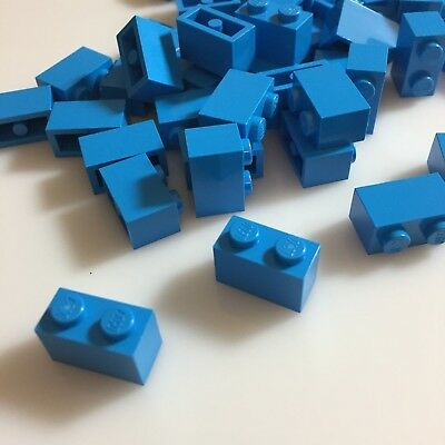 RARE COLOR 50 NEW LEGO 1x2 Dark Azur bricks (ID 3004/6004943) modular azure blue