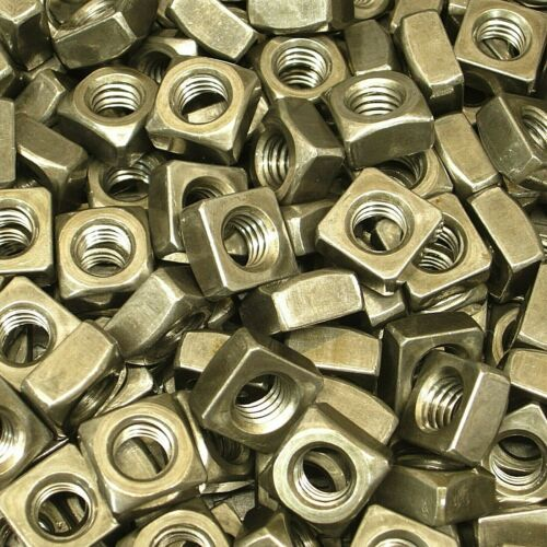 "(250) 3/8""-16 Regular Square Nut Coarse Thread Unplated Plain Finish Steel"