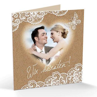 personalisierte Einladungskarten für Hochzeit, StD – weiße Spitze, Wolkenherz