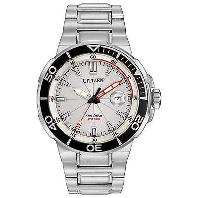 Citizen Eco-Drive Men's Endeavor Date Silver-Tone Bracelet 45mm Watch AW1420-55A