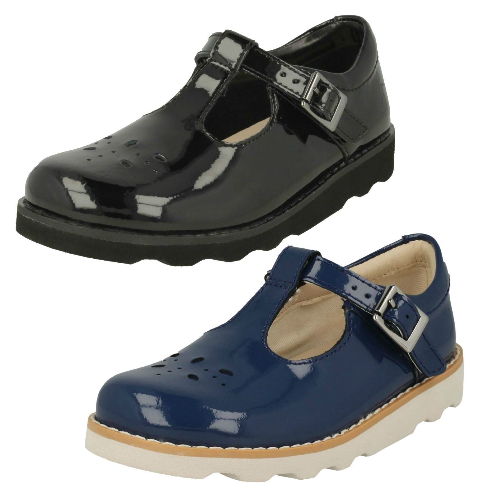 Girls Clarks Crown Wish Classic T-Bar Shoes