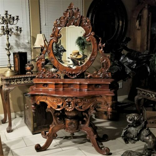 Vintage ROCOCO Style Ornate Carved Cherry Wood Vanity Table with Mirror