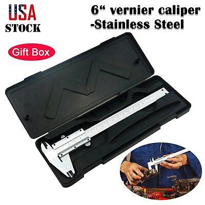 6 Inch150mm Stainless Steel Vernier Caliper Micrometer Gauge Inch Range Tools