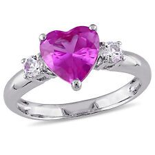 Sterling Silver Created Pink and White Sapphire Heart Ring