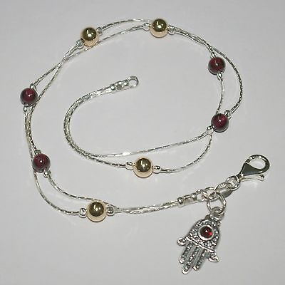 Garnet Silver Anklet (Sterling Silver 925 Chain, GARNET and GOLD FILLED Beads ANKLET with Hamsa Charm )