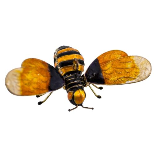 """Cloisonne Enameled Metal Articulated Bee Ornament Movable Wings 3.25"""" Wide New!"""