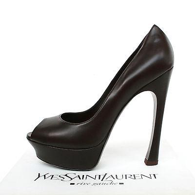 YVES SAINT LAURENT 750 brown platform heels Palais 105 pump YSL shoes 405 NEW