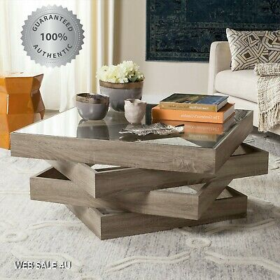Bedroom Oak Accent Table - Modern Coffee Table Contemporary Art Décor Accent Glass Top Gray Wood Oak US