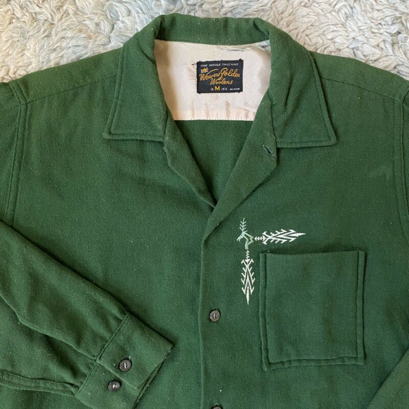 Weavers Golden Woolens Vintage 50s Medium Green Button Front Shirt Rockabilly M