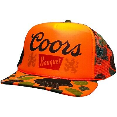 Vintage Coors Beer Hat trucker hat snap back Orange Camouflage hunting cap  Orange Camouflage Cap