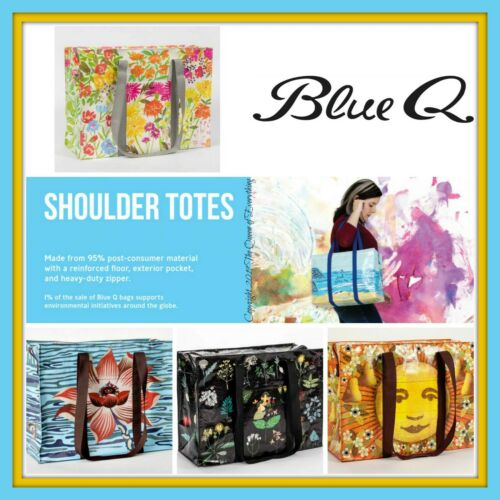 Blue Q Shoulder Tote with Heavy Duty Zipper & Outer Pocket 95% Recycled Material