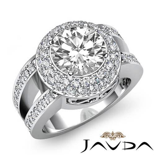 2.35ct Pave Set Round Diamond Engagement Halo Ring GIA F VVS2 14k White Gold