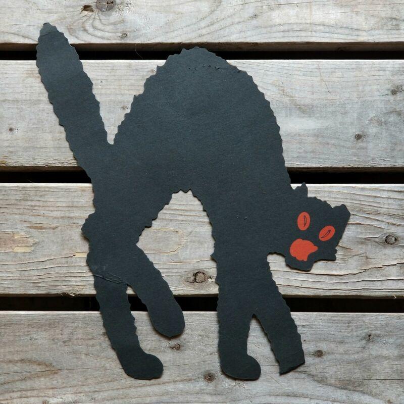 RARE Antique DENNISON ARCHED-BACK BLACK CAT Halloween Diecut VTG 1920s Rusty Red