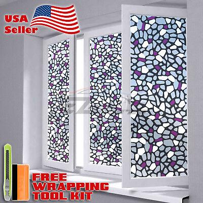 "*12""x48"" Frosted Purple Brick Glass Film Bathroom Window Privacy Sticker 5039A"