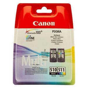 Original Canon PG510 Black & CL511 Colour Ink Cartridges for Pixma MP495