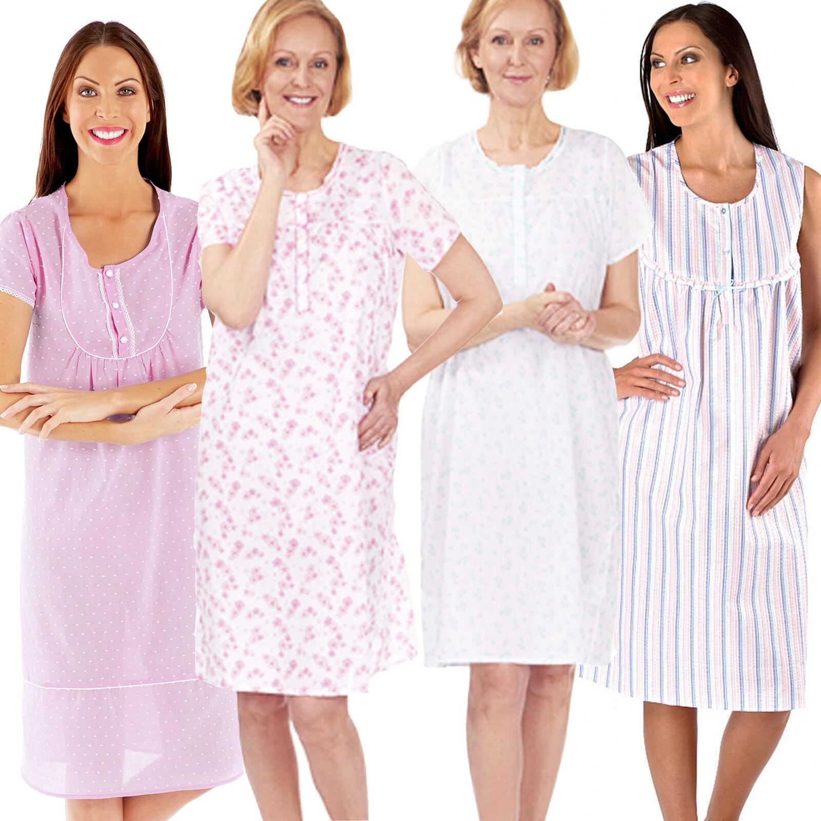 Ladies Short Sleeve Night Shirt Nightdress Summer Nightie cotton Floral poly 8da387de3