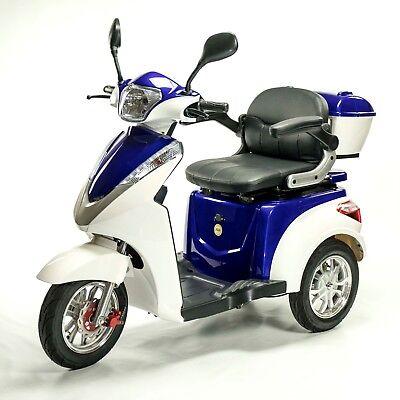 Blue/White 3 Wheel Electric Cruzzin Mobility Scooter, Cruzzer Classic