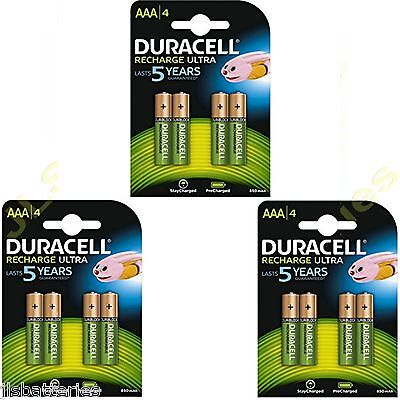 12 x AAA Duracell  Rechargeable 850 mAh  Batteries 850mAh Ultra pre Charged  Duracell Pre-charged Rechargeable