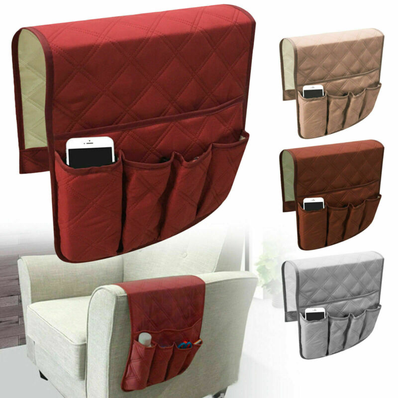 Sofa Arm Rest TV Remote Control Organizer Holder 5 Pockets Chair Couch Bag US