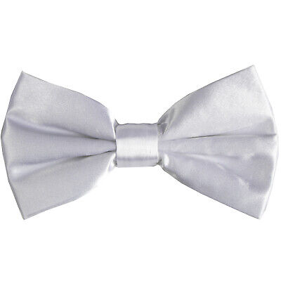 NEW MEN Solid Satin Bow tie Bowtie Only Formal Party Prom Wedding White White Satin Bow Tie