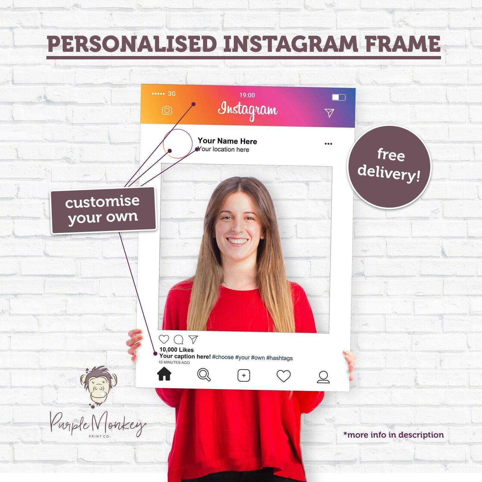 personalised selfie frame photo prop solid plasticboard weddings birthdays roses