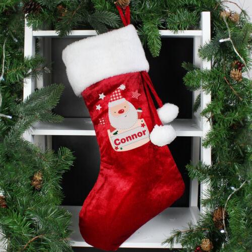PERSONALISED+SANTA+LUXURY+WHITE+POM+POM+CHRISTMAS+SANTA+STOCKING+ADULTS+KIDS
